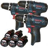 TEAM-SET !!! - 3 Stück Bosch Akku-Bohrschrauber GSR 10,8-2-Li + 5 Stück Akkus 10,8 V Li-Ion 2,0AH (1600Z0002x)