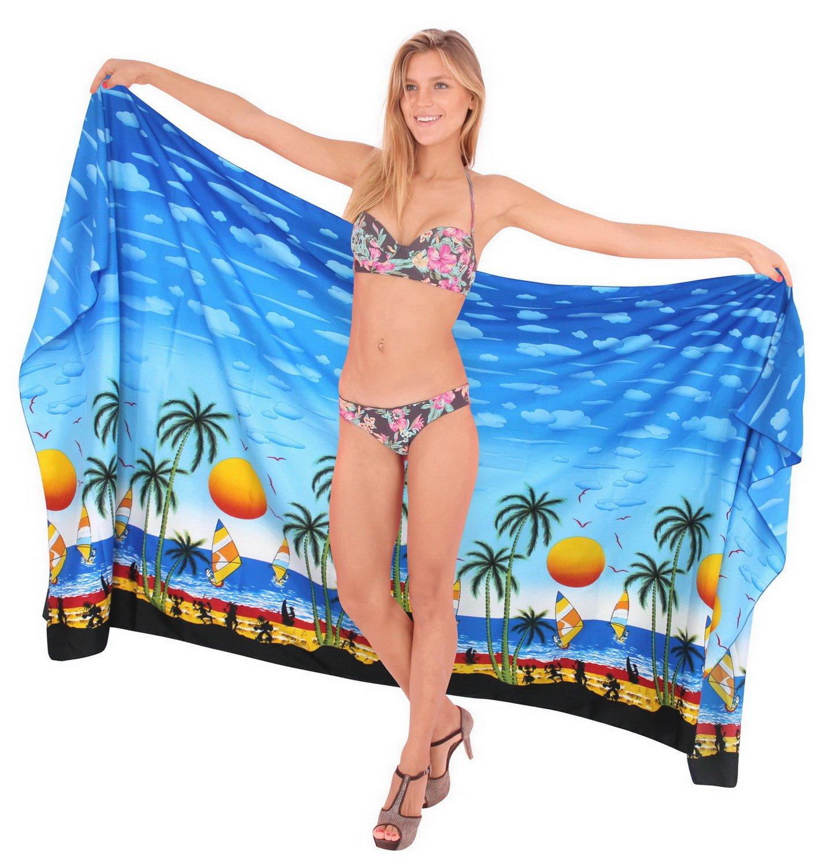 LA LEELA Donne Morbido Costume da Bagno Luce Involucro della Spiaggia Sarong Stampati 2 spesavip