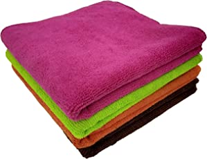 Shop by Room 350 GSM Microfibre Cleaning Cloth - 40 cm x 40 (Multi Color, Pack of 4)