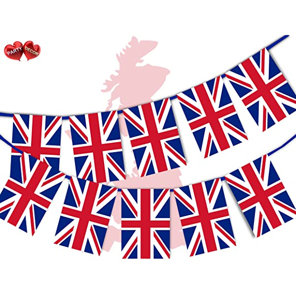 Red White Blue Fabric Bunting 10m 20 Flags Stret Road Royal Party Decorations