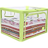 HOKIPO Cloth Storage Box - Wardrobe Organizer, Storage Boxes for Clothes with Zip - 66 Litre, Pack of 1, Green (AR2902)