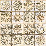 Xstar 16 stuks mandala-sjablonen, herbruikbare airbrush-sjablonen mandala-dotting schildersjablonen, knutselen, tegels, sjabl