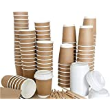 DOUBLE WALLED 8OZ DISPOSABLE PAPER COFFEE CUPS WITH LIDS STIRRING STICKS AND NAPKINS THICH WALLED NO NEED FOR COFFEE SLEEVES