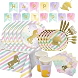 107 Pieces Unicorn Party Supplies Pack Disposable Tableware Serves 12 Birthday Party Decoration Set Value Pack Napkins Plates