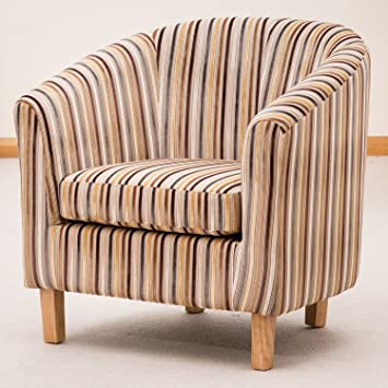 Sofa Collection Brand New Amboise Striped Tub Chair/Armchair Seating,  Fabric, Brown,