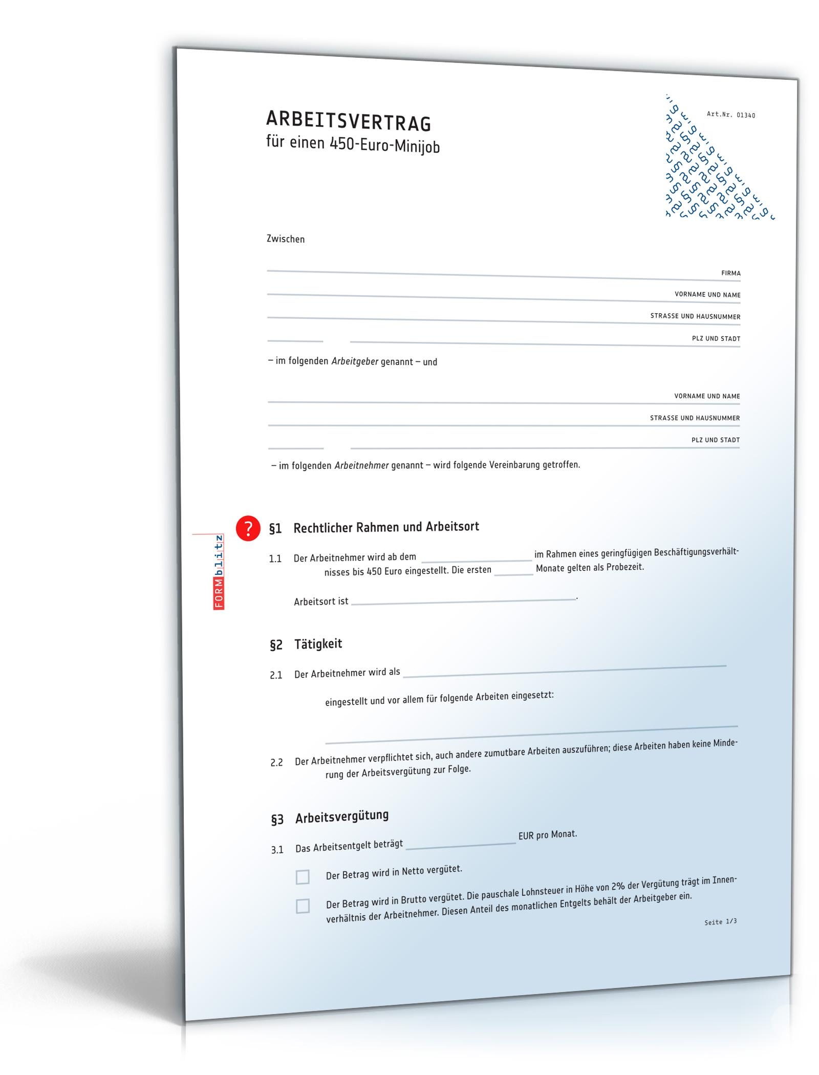 Arbeitsvertrag Minijob (PDF) - Vertrag für 450-Euro-Minijob [Download]
