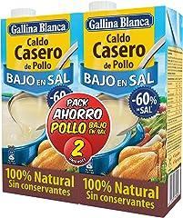 Caldo Casero de Pollo Bajo en Sal 100% Natural Gallina Blanca 2 briks de 1 l