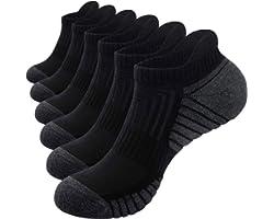PULIOU Mens Running Socks Trainer Socks 6 Pairs Sports Anti Blister Black Socks Cushioned Cotton Ankle Socks Low Cut Breathab