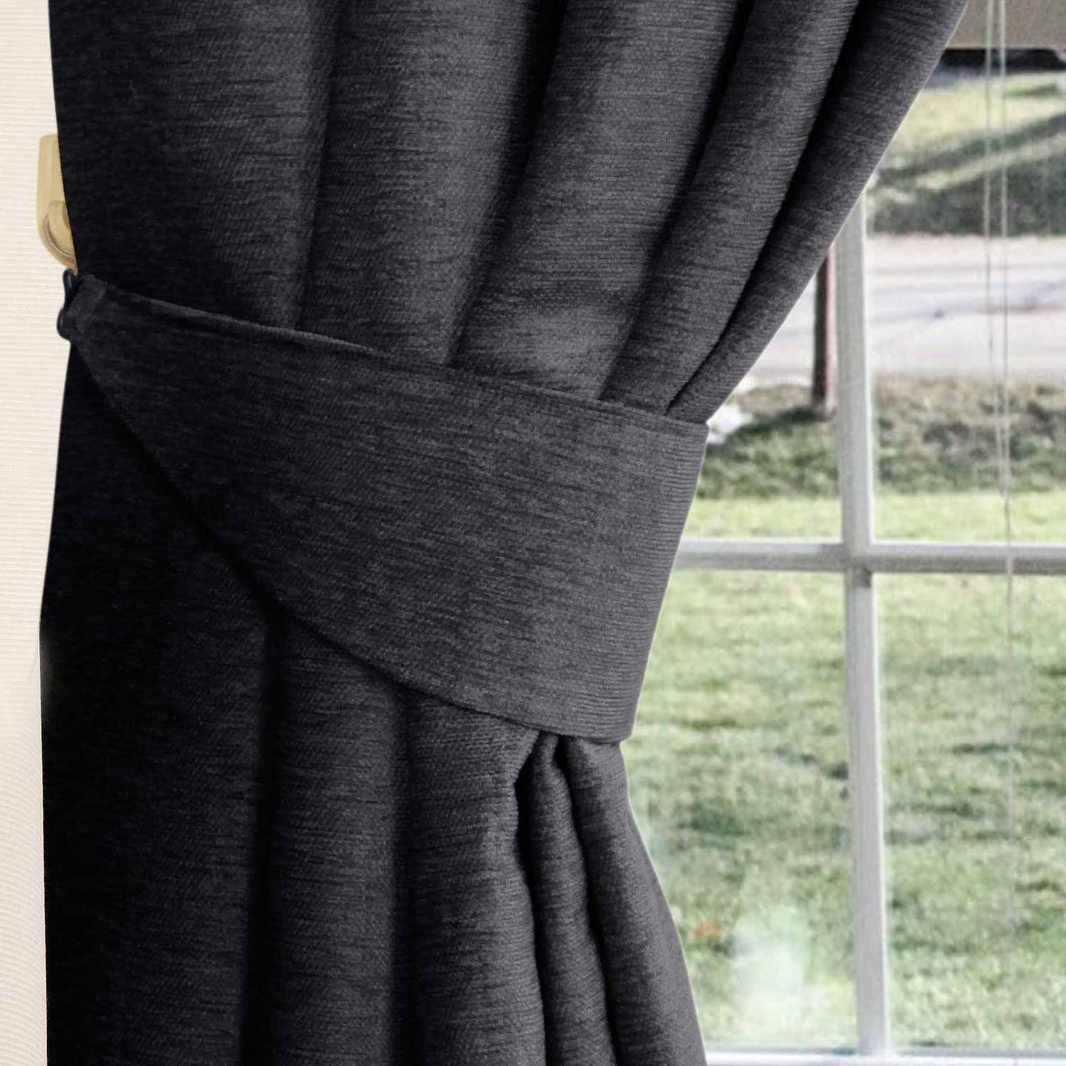 Homescapes Pewter Grey Chenille Curtains Tie Backs Pair, 2 Tie Backs For  Curtains   Coordinating With Chenille Thermal Pencil Pleat Curtains.