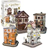 CubicFun Puzzle 3D Harry Potter Callejón Diagón Colección 4 en 1 Set - Quality Quidditch Supplies, Ollivanders Wand Shop, Wea