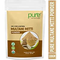Pure Herbology Pure & Natural Multani Mitti Powder for Face Glowing & Dry Skin, Facial Care, (100Gm)