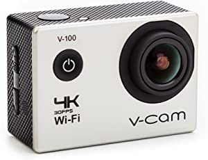 V-CAM V-100 16MP 4k Wi-Fi Action Camera with IP68 Waterproof Case and High Speed Shooting and Definition (Silver)