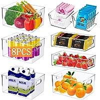 Boîte de Rangement Frigo,Ensemble de 8 Pièces Bac Rangement Frigo,Boîtes de Rangement pour Réfrigérateur,Cuisine,Garde…