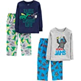 Simple Joys by Carter's 4-Piece Pajama Set (Cotton Top & Fleece Bottom) Bebé-Niños, Pack de 4
