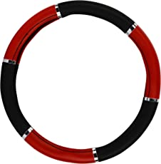 AutoSure Universal Steering Wheel Cover (Black & Red with Chrome)