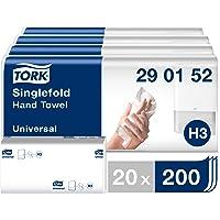 Tork Essuie-mains pliés en V - 290152 - Papier d'essuyage de qualité Universal pour Distributeur H3 - pli en V, 1 pli…