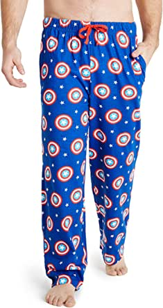 MARVEL Captain America Mens Lounge Bottoms, 100% Cotton Male Clothing, Men Pyjamas, Birthday Gifts for Him, Elasticated Waist Trousers for Men, Lounge Pants