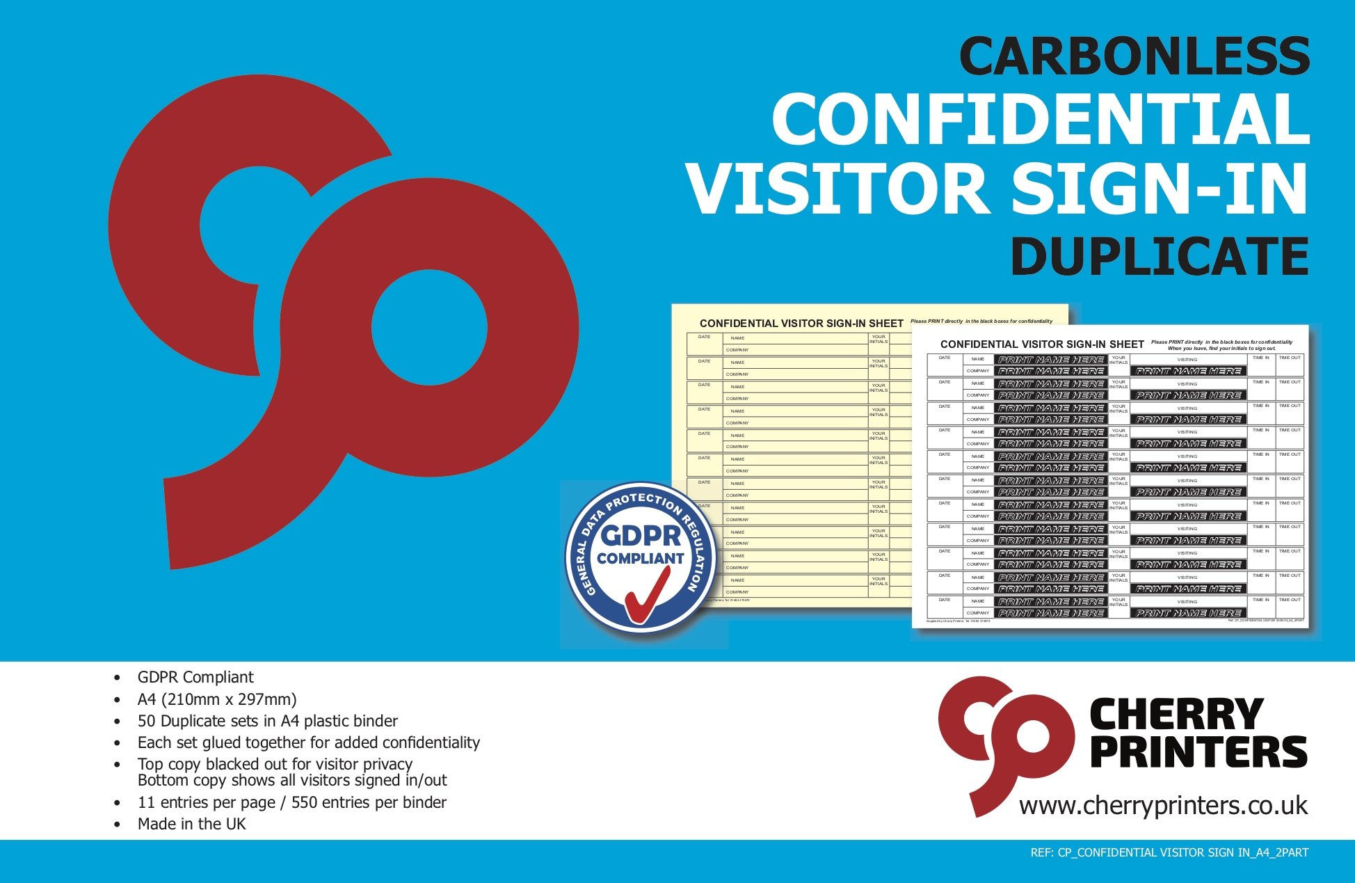 Cherry Carbonless NCR Confidential Visitor Sign in Duplicate Book A4 50 Sets New