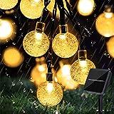 Lezonic Solarny łańcuch świetlny na zewnątrz, 50 diod LED, 8 trybów świecenia, solarne kryształowe kule wodoszczelne, oświetl