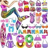 VanStar 45 Random Doll Swimwear Beach Bathing Clothes Including 9 Bikini 1 Mermaid Swimwear 2 Swimming Ring 3 Glasses 15 Pair