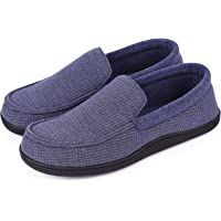 EverFoams Men's Comfort Memory Foam Moccasin Slippers Breathable Terry Cloth House Shoes with Anti-Skid Rubber Sole