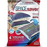 Spacesaver Lot de 4 sacs de rangement sous vide 80 % de stockage en plus Pompe manuelle pour voyage Double fermeture Éclair e