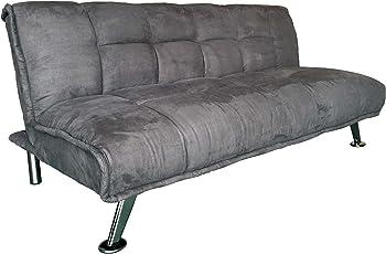 AVANTI TRENDSTORE - Ciprios - Divano a 3 posti con schienale regolabile e funzione letto, con imbottitura comoda rivestita in microfibra di colore grigio, dimensioni: LAP 183x83x88 cm