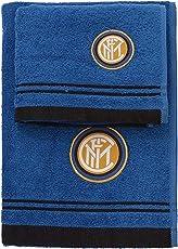 Inter 8907 020 2120 Set Asciugamano e Ospite in Spugna, 100% Cotone, Nero/Azzurro, 100 x 60 x 1 cm