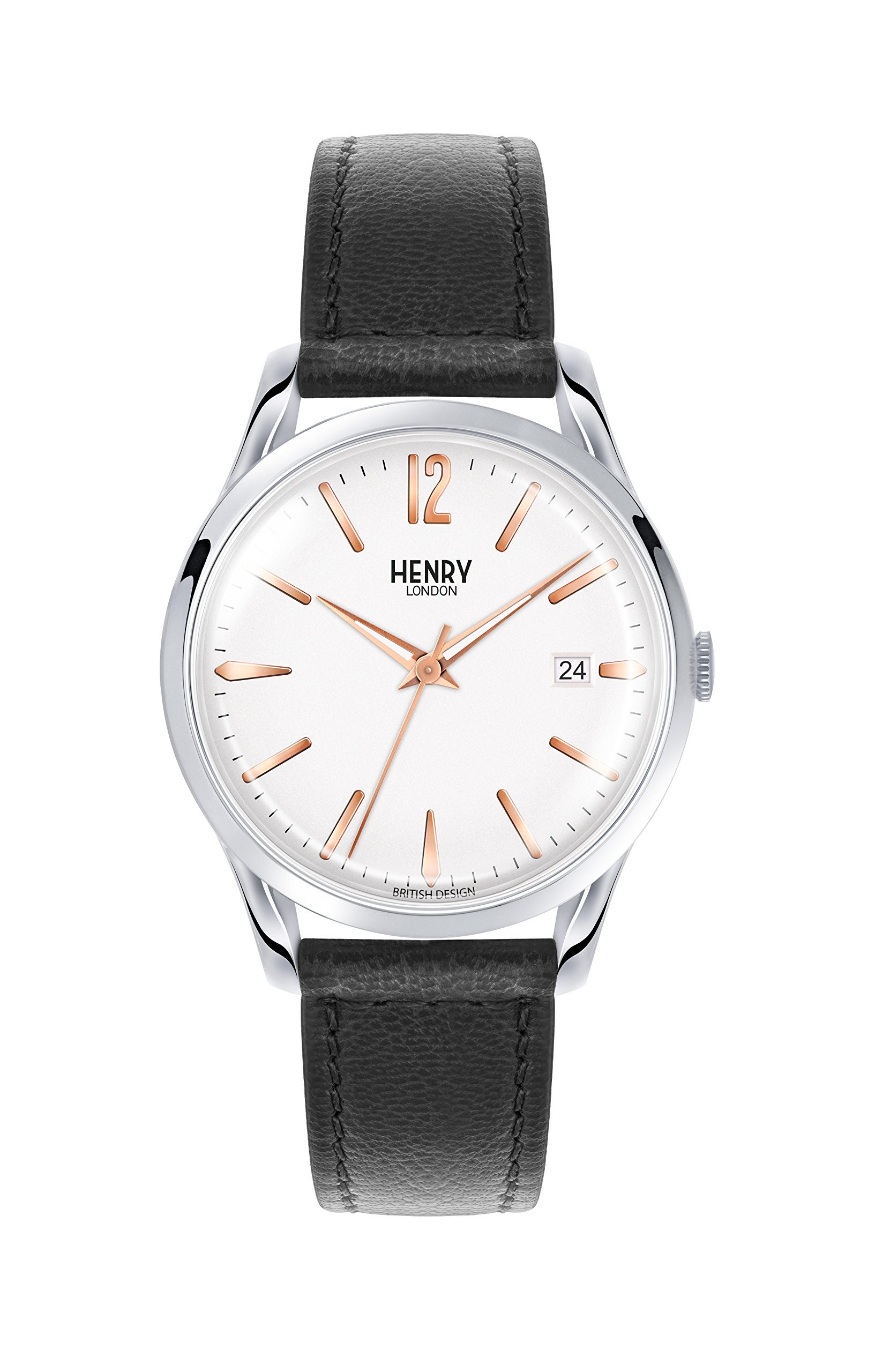 Henry London Unisex Highgate Quartz Watch with White Dial Analogue Display and Black Leather Strap