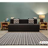 uberlyfe Sofa Cum Bed - 3 Seater, 6'X6' Feet- with 2 Cushions (Zigzag Pattern) - Jute Fabric | Dark Grey- Perfect for Guests