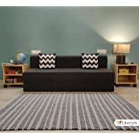 Uberlyfe 3 Seater Sofa Cum Bed - Perfect for Guests - Jute Fabric Washable Cover - Dark Grey with 2 Cushions | 6' X 6' Feet.(SCB-001734-BK_A)