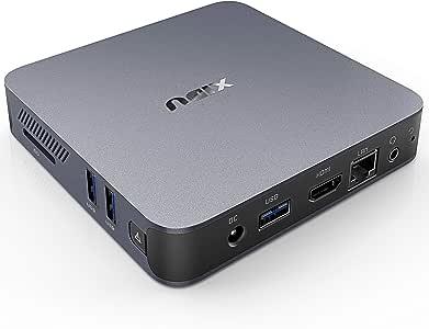 XIDU PhilMac Mini PC Alliage D'aluminium Windows 10, 8Go DDR4, 128Go eMMC, Intel Celeron J4115, 4K Mini Ordinateur avec Port HDMI/VGA/Gigabit Ethernet/3xUSB 3.0/Carte SD, Dual WiFi, BT4.2-Gris Sidéral