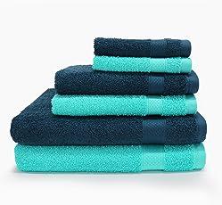 Spaces Atrium Solid 6 Piece 430 GSM Cotton Towel Set - Lagoon and Insignia Blue