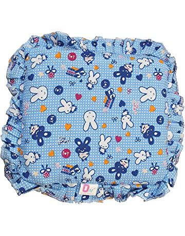 Kidzvilla Cotton New Born Baby Mustard Seeds Pillow, 0 to 12 Months (Blue)