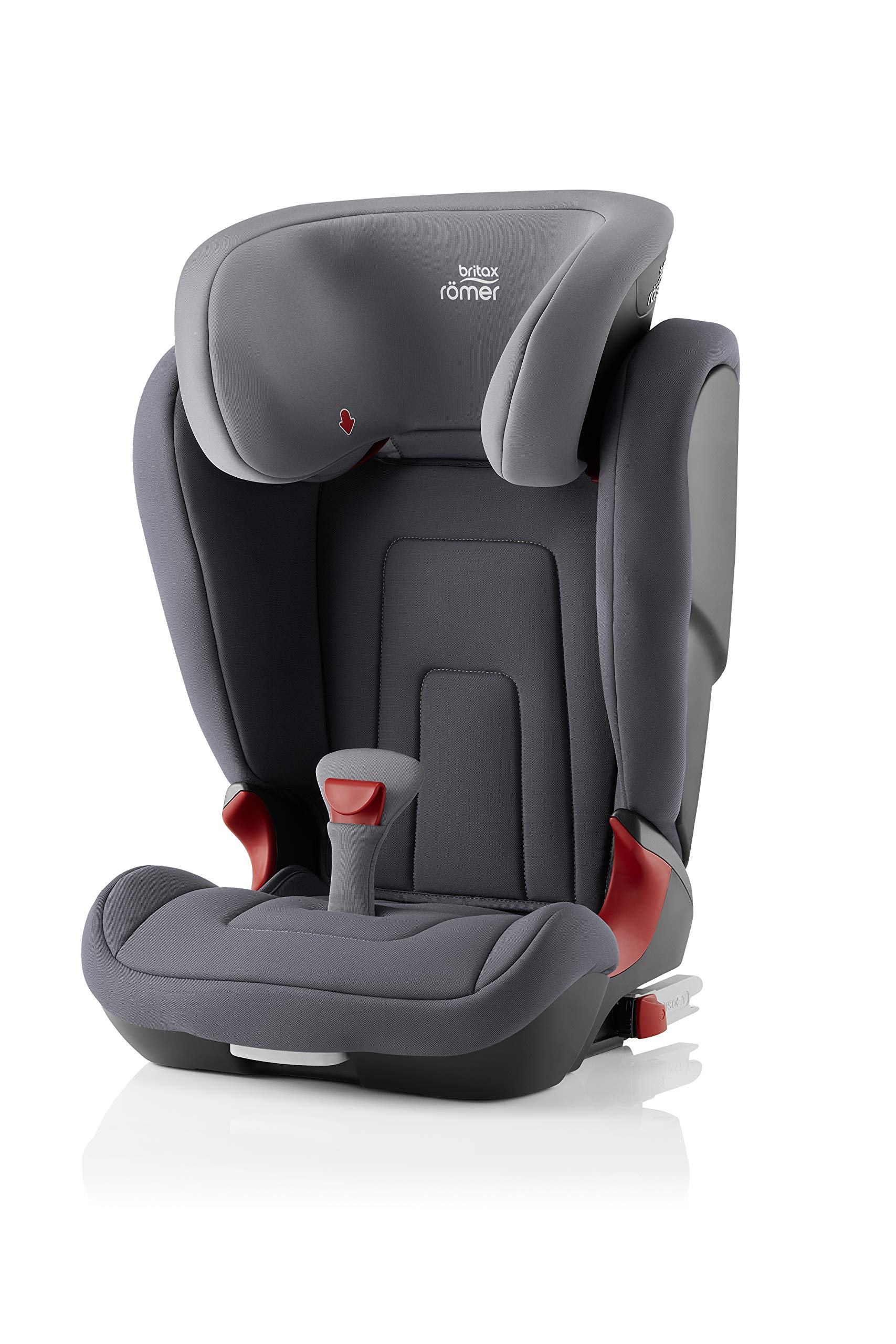 Britax Römer car seat 15-36 kg, KIDFIX 2 R Isofix group 2/3, Storm Grey Britax Römer Secure guard - helps to protect your child's delicate abdominal area by adding an extra - a 4th - contact point to the 3-point seat belt. High back booster - protects your child in 3 ways: provides head to hip protection; belt guides provide correct positioning of the seat belt and the padded headrest provides safety and comfort. Easy adjustable v-shaped backrest - designed to give optimum support to your growing child, the v-shaped backrest provides more space for their back and shoulders. 1