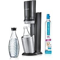 SodaStream Crystal 2.0 Glaskaraffen Trinkwassersprudler zum sprudeln von Leitungswasser, mit spülmaschinenfester Glasflasche für Ihr Sodawasser! inkl. 1 Zylinder und 2 Glaskaraffen