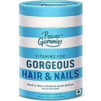 Power Gummies Hair & Nail Vitamins with Biotin & 10 Essential Vitamins - 60 (blue) for Men & Women. Vitamin A to E…