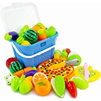 Kingwell Realistic Sliceable Cutting Fruits and Vegetables Play Educational Toys with Basket and Pizza Set for Kids