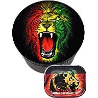 Royale Grinder Lion Pack Grinder 50mm et plateau 18/14cm 4 Parties Design Moulin à épices avec récupérateur de Pollen…