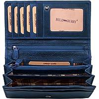 Hill Burry hochwertige Geldbörse   aus weichem Vintage Leder - Langes Portemonnaie - Kreditkartenetui - RFID (Blau)