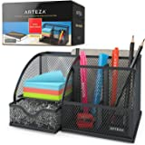 Arteza Metal Mesh Desk Organiser with Drawer, Black 6-Compartment Multi-Functional Desk Tidy for Office Supplies & Accessorie