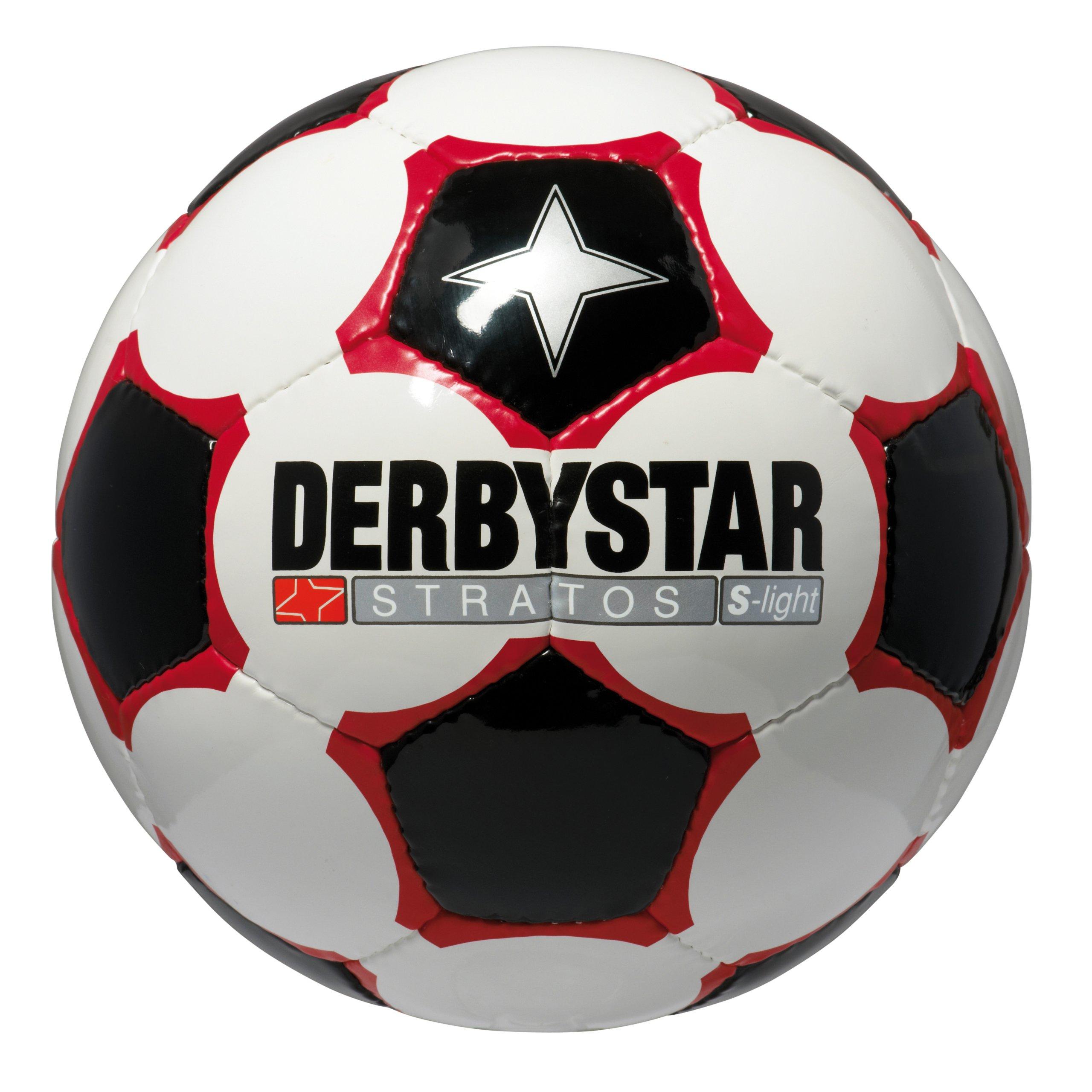 DERBYSTAR - STRATOS, Pallone da calcio, Bianco/Nero/Rosso, 5