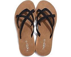 ASTERO Flip Flops Damen Zehentrenner Clip Toe Sandalen Leder Flacher Strand Sommer Hausschuhe Komfort Indoor Outdoor Größe 36