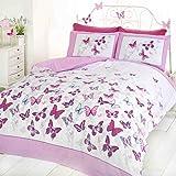 Art Flutter Butterfly sänglinne set för enkelsäng, bomull och polyester, rosa och vit
