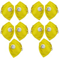 Liboni D-16 Anti Air Filter Mouth Nose Cover Yellow Face Mask for Men & Women Pack of 10