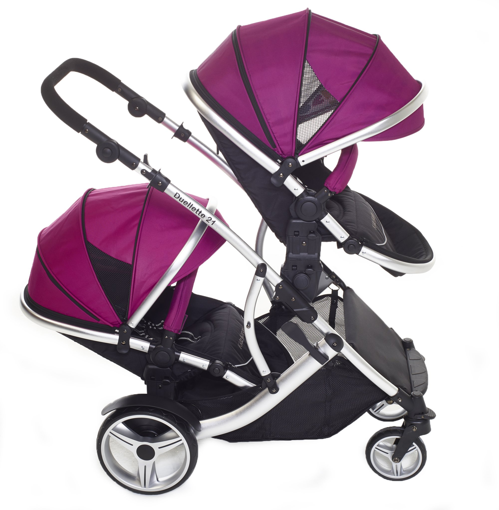 Kids Kargo Double Twin Tandem Pushchair. Duellette Combi Suitable from birth, Carrycot converts to toddler seat unit. Stroller by Kids Kargo (Dooglebug Raspberry)  Versatile. Suitable for Newborn Twins Compatible with car seats; Kidz Kargo, Britax Baby safe or Maxi Cosi adaptors. carrycots have mattress and soft lining, which zip off. Remove lining and lid, when baby grows out of carrycot mode, converts to seat unit 5