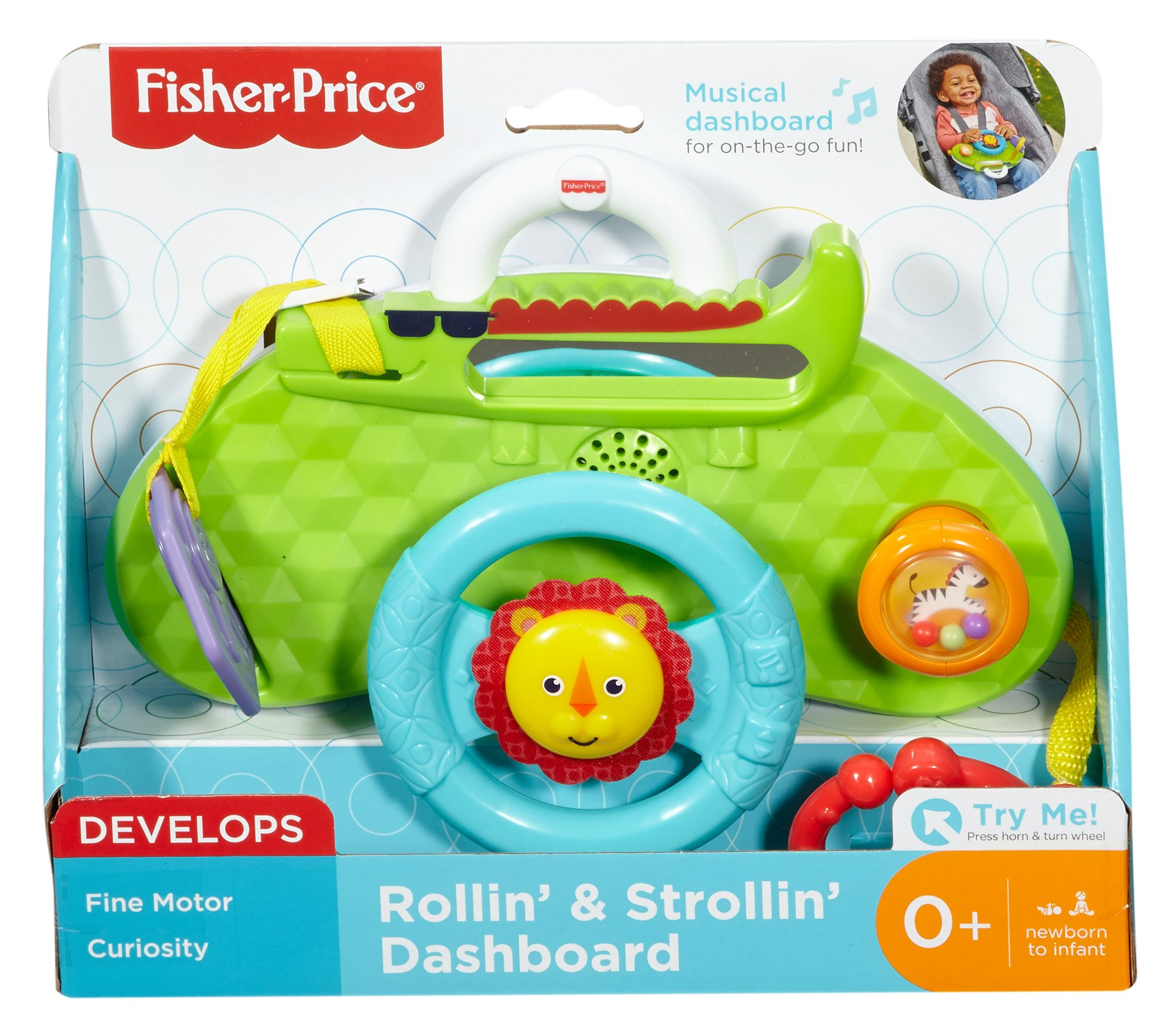 Fisher-Price Rolling and Strolling Dashboard, New-born Activity Toy with Music Sounds Fisher-Price  Attaches to stroller for playtime on the go  Turn the lion steering wheel to hear short songs  Push the lion's face for silly sound effects (Beep beep!) 6