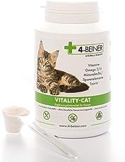 4-Beiner VITALITY-CAT – Nahrungsergänzung 90 g Pulver, Multi-Vitamine & Mineralstoffe / Spurenelemente, Omega 3/6 + Taurin zur Stärkung des Immunsystems und Vitalisierung, tägliches Ergänzungsfutter bei BARF Fütterung (Barfen)