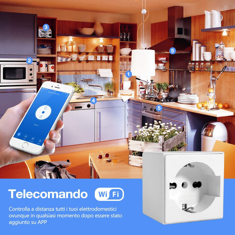 YAGALA La presa Smart WiFi funziona con  Alexa Echo//Echo Dot Google Home e IFTTT Mini Presa domestica wireless con app Telecomando Funzione di temporizzazione Nessun hub richiesto 1 Pezzi