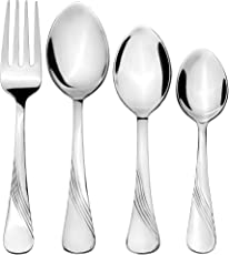 Amazon Brand - Solimo 24 Piece Stainless Steel Cutlery Set, Waves (Contains: 6 Table Spoons, 6 Tea Spoons, 6 Forks, 6 Dessert Spoons)